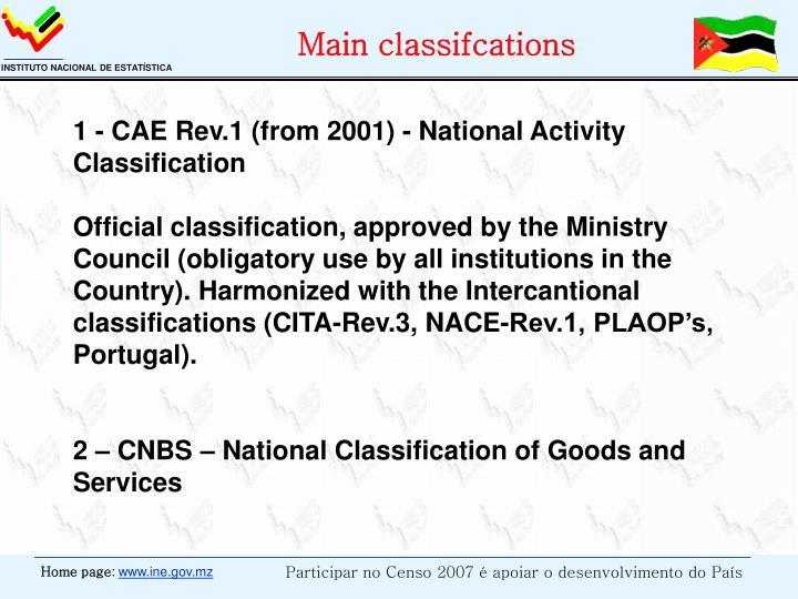 Main classifcations