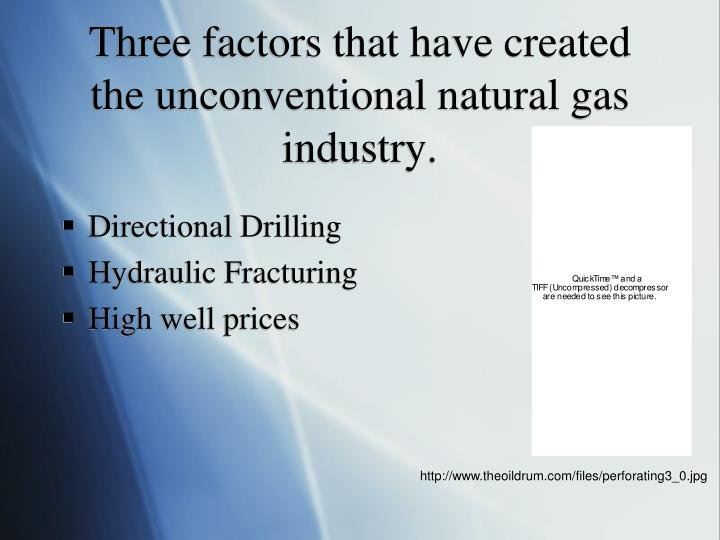 Three factors that have created the unconventional natural gas industry.