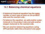 14 1 balancing chemical equations