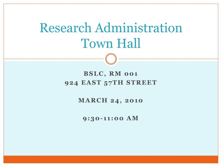 research administration town hall n.