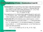 lengthening of codes constructions x and xx