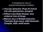 investigational uses of acetylcholinesterase inhibitors