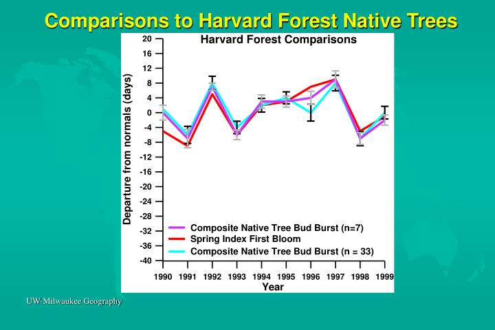 Comparisons to Harvard Forest Native Trees