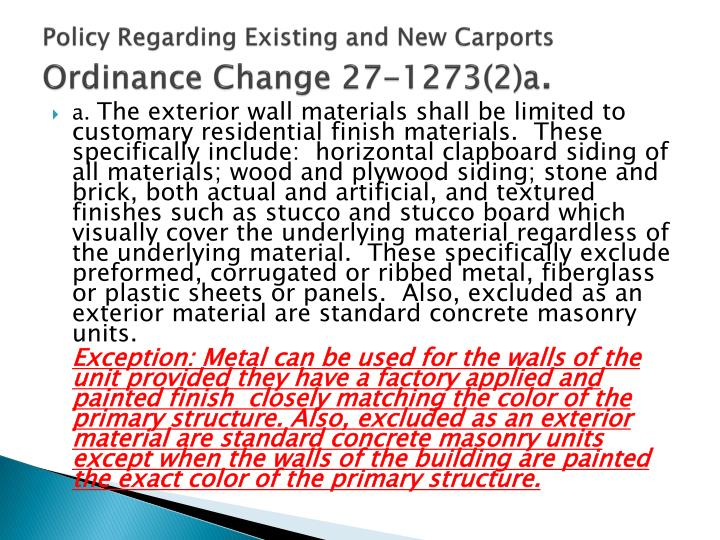 Policy Regarding Existing and New Carports