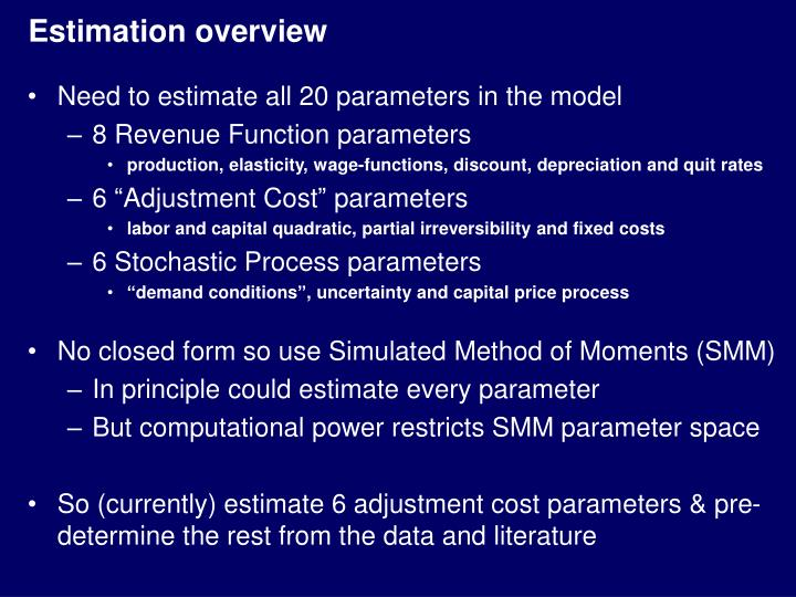 Estimation overview