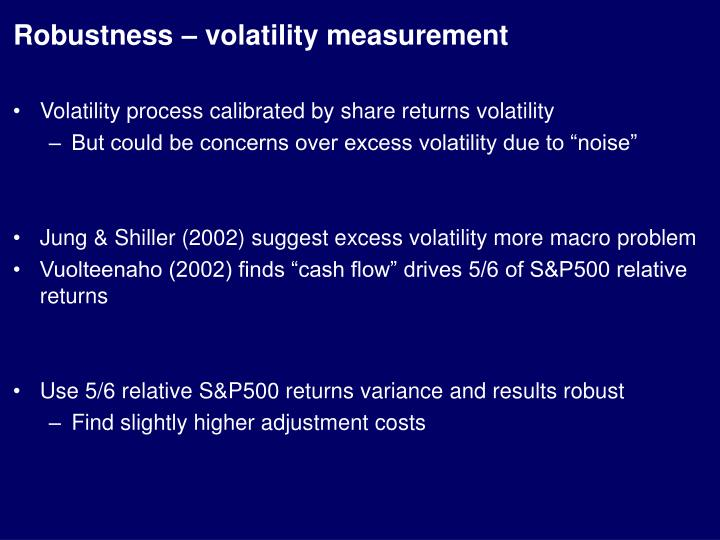 Robustness – volatility measurement