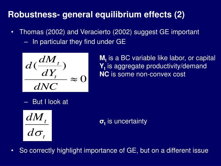 Robustness- general equilibrium effects (2)