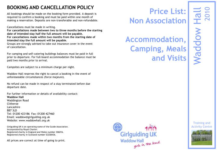 Price list non association accommodation camping meals and visits