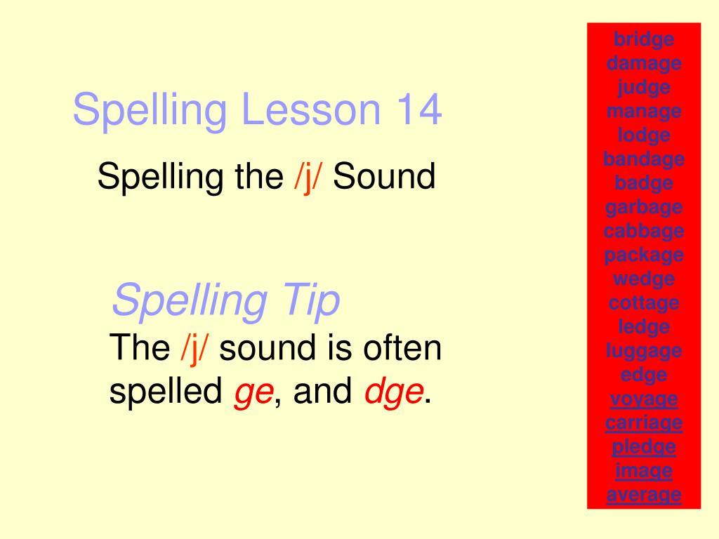 spelling lesson 14 l.