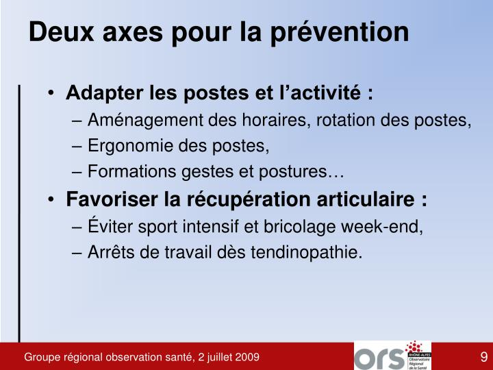 Deux axes pour la prévention