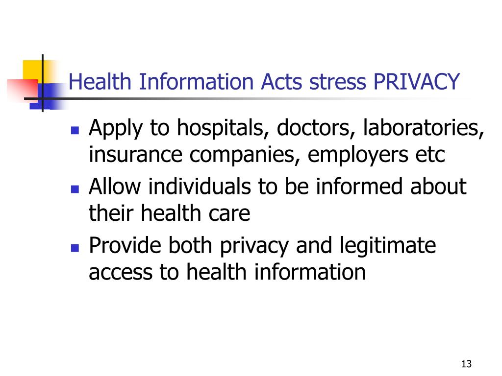Health Information Acts stress PRIVACY