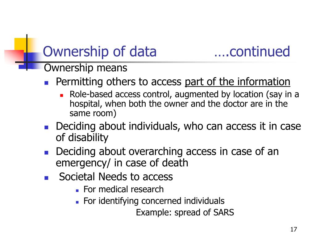 Ownership of data             ….continued