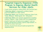 targeted capacity expansion tce program to improve mental health services for older adults