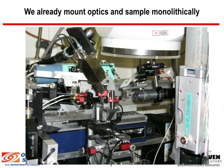 We already mount optics and sample monolithically