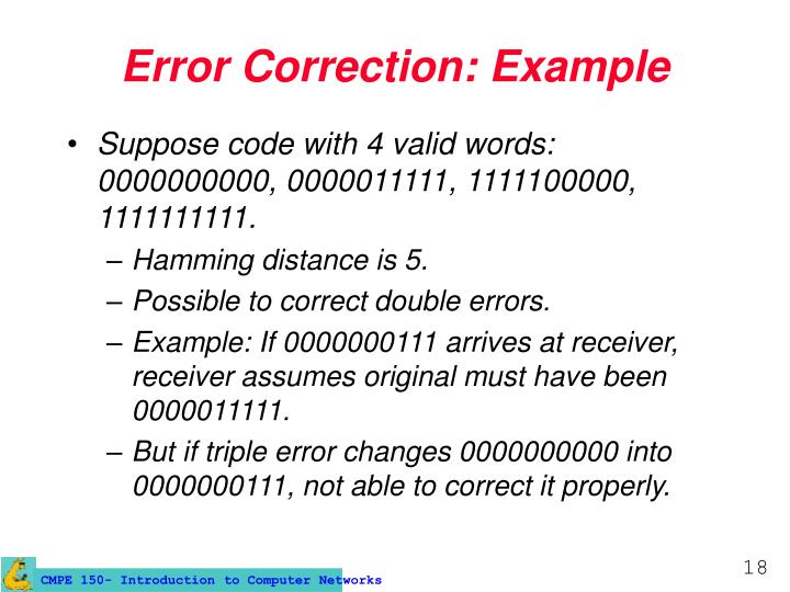 Error Correction: Example