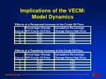 implications of the vecm model dynamics