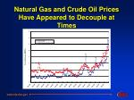 natural gas and crude oil prices have appeared to decouple at times