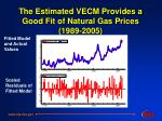 the estimated vecm provides a good fit of natural gas prices 1989 2005