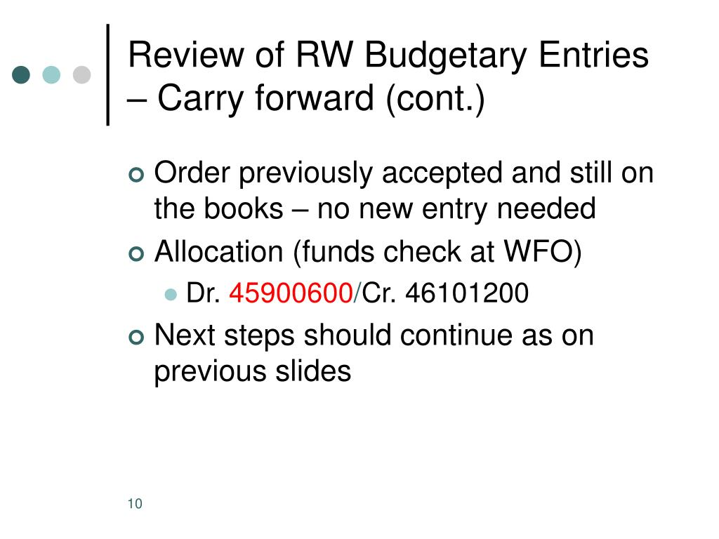Review of RW Budgetary Entries – Carry forward (cont.)