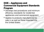 doe appliances and commercial equipment standards program
