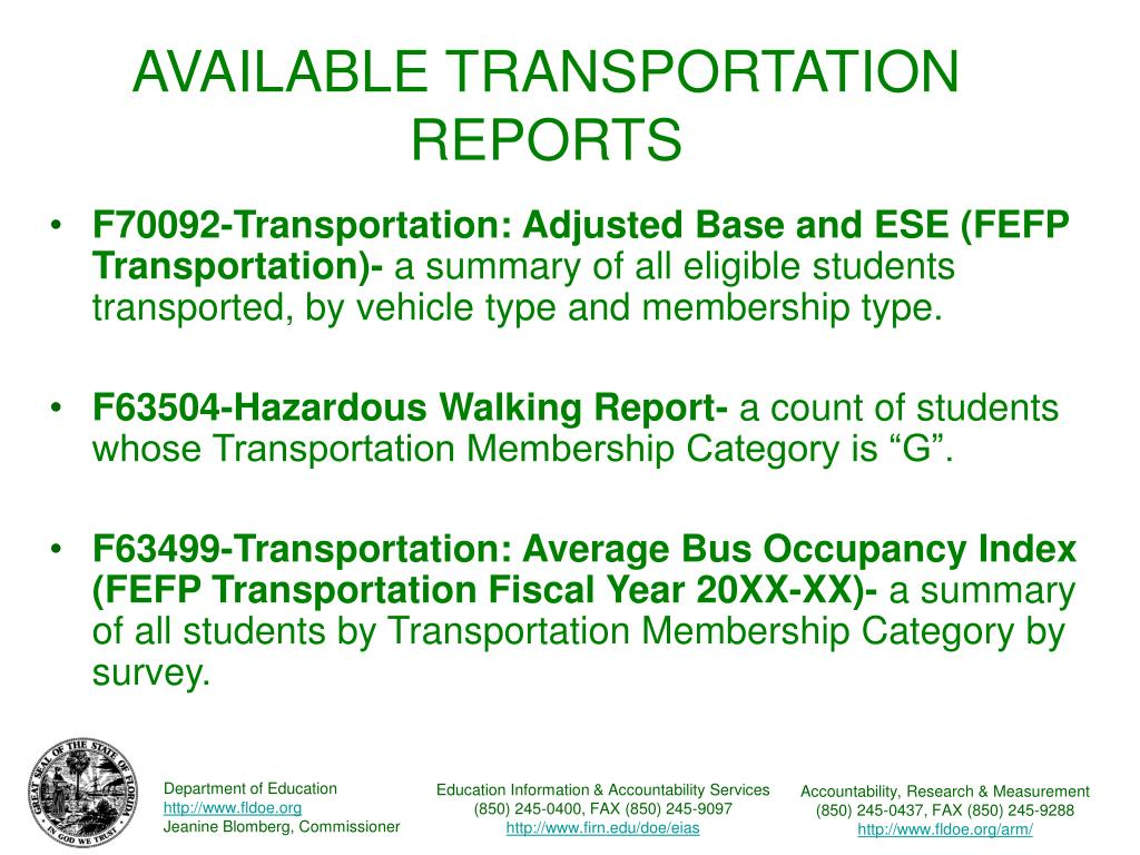 AVAILABLE TRANSPORTATION REPORTS