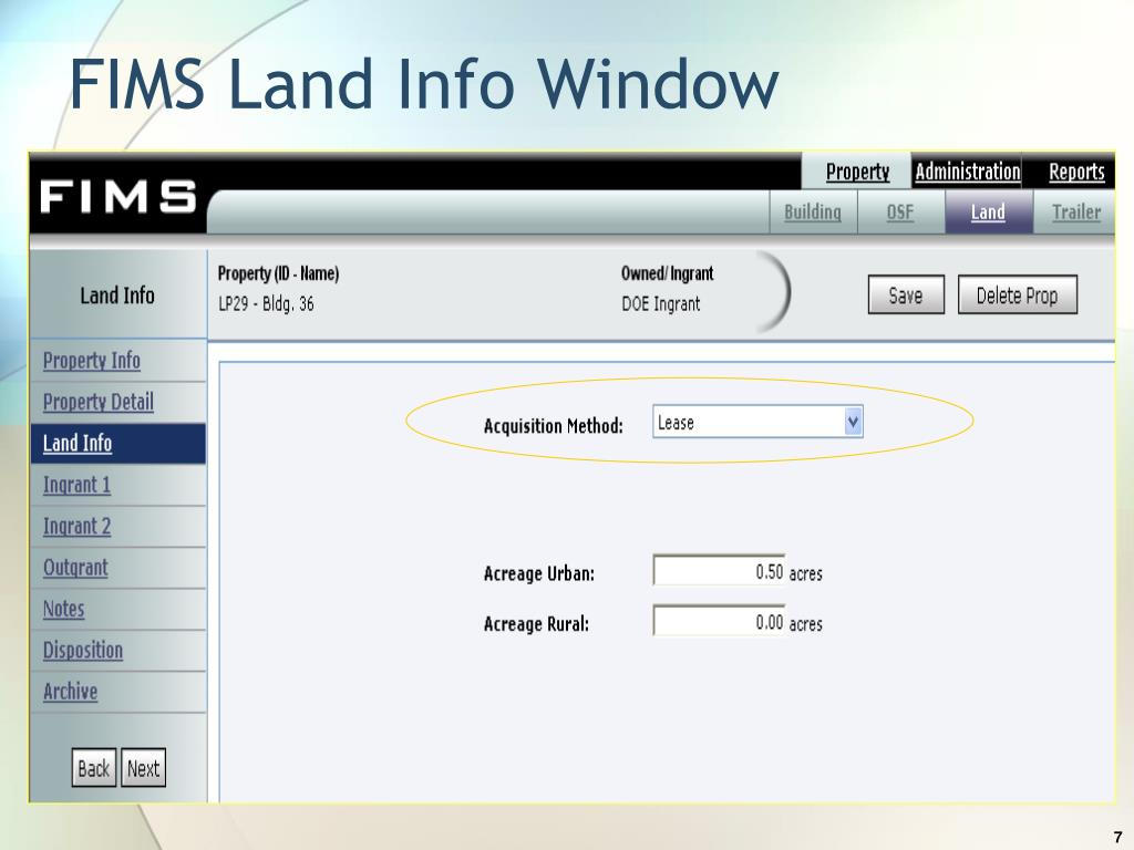 FIMS Land Info Window