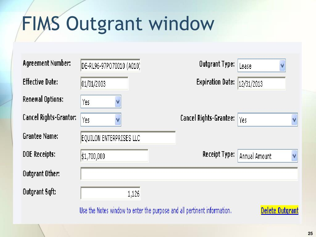 FIMS Outgrant window