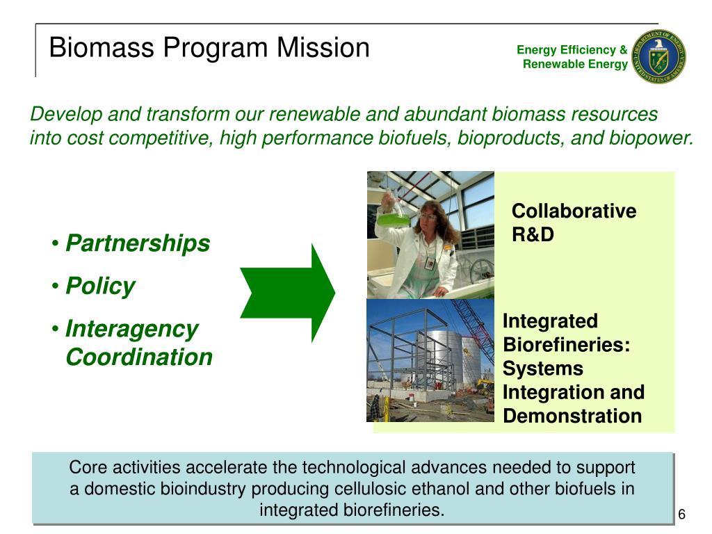Biomass Program Mission