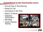 commitment to the community cont