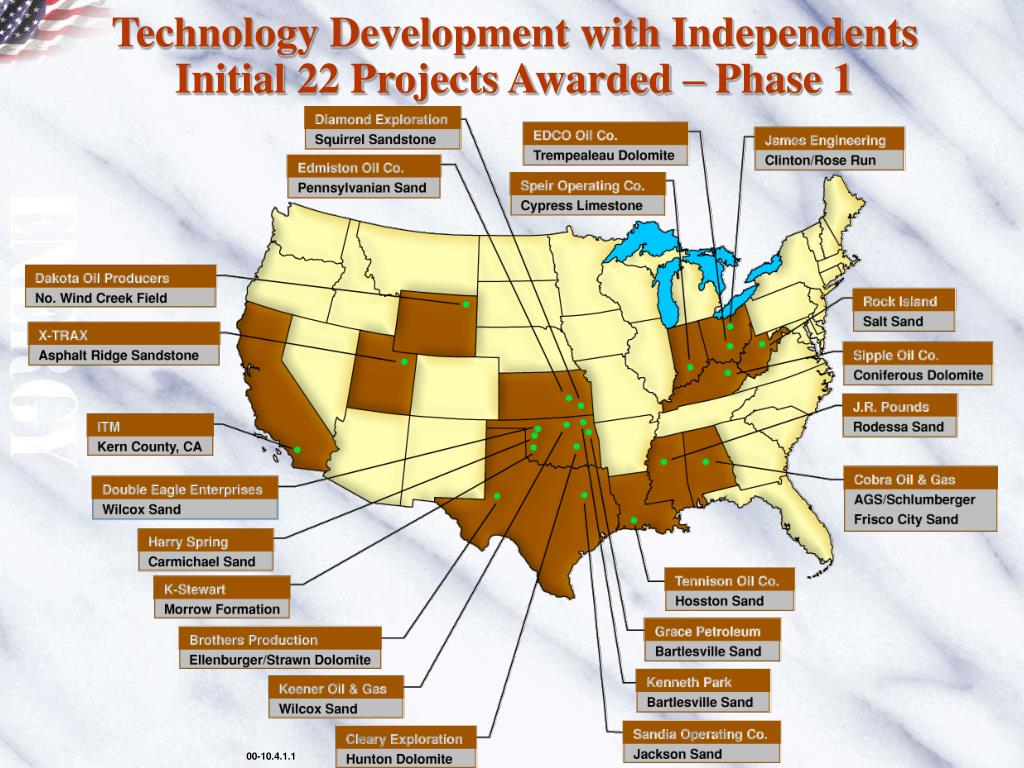 Technology Development with Independents Initial 22 Projects Awarded – Phase 1