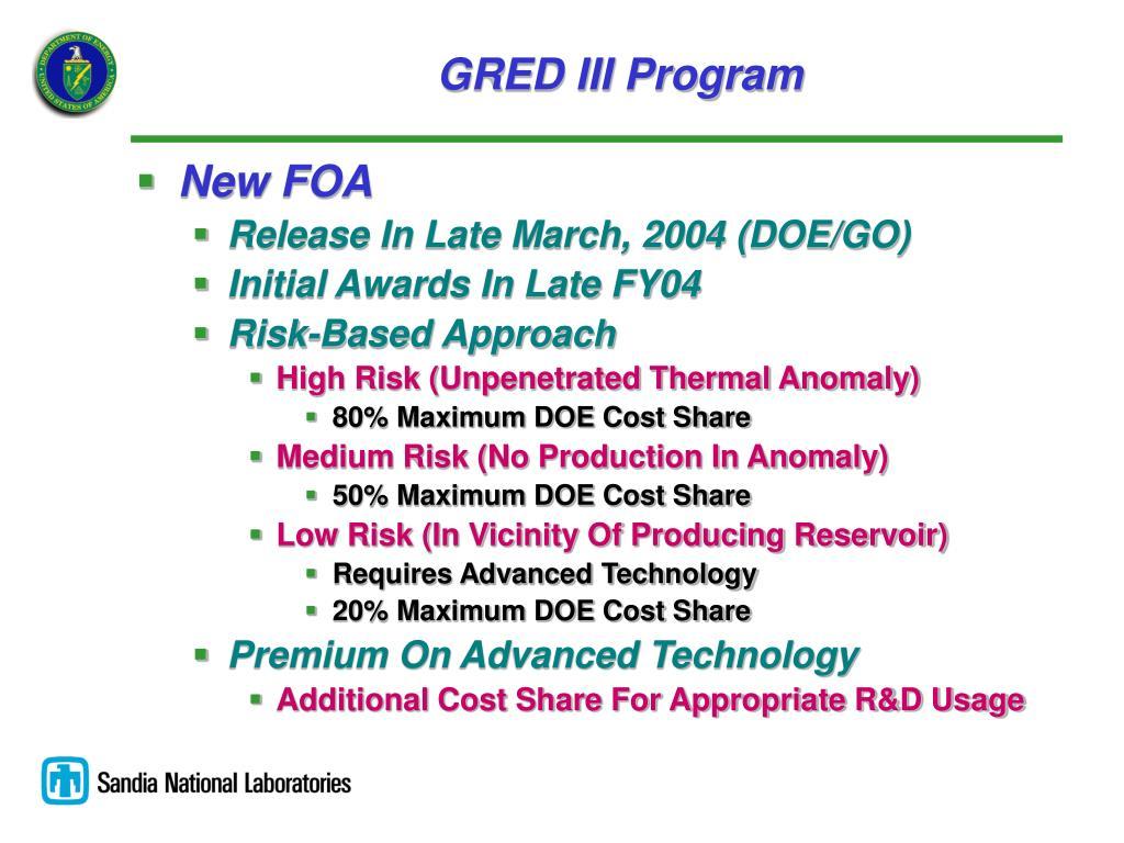 GRED III Program
