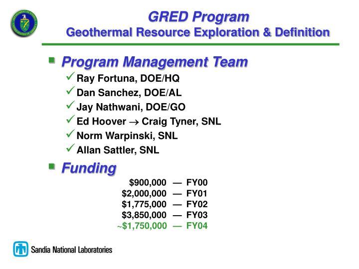 Gred program geothermal resource exploration definition