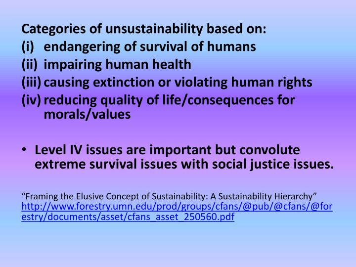 Categories of unsustainability based on: