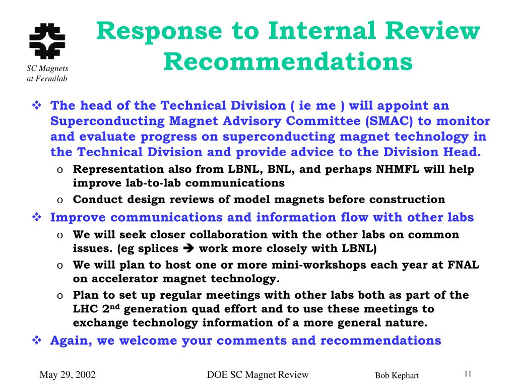 Response to Internal Review Recommendations