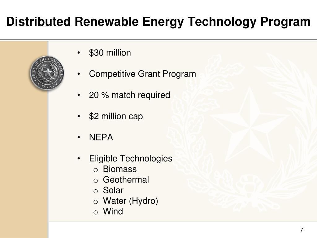Distributed Renewable Energy Technology Program