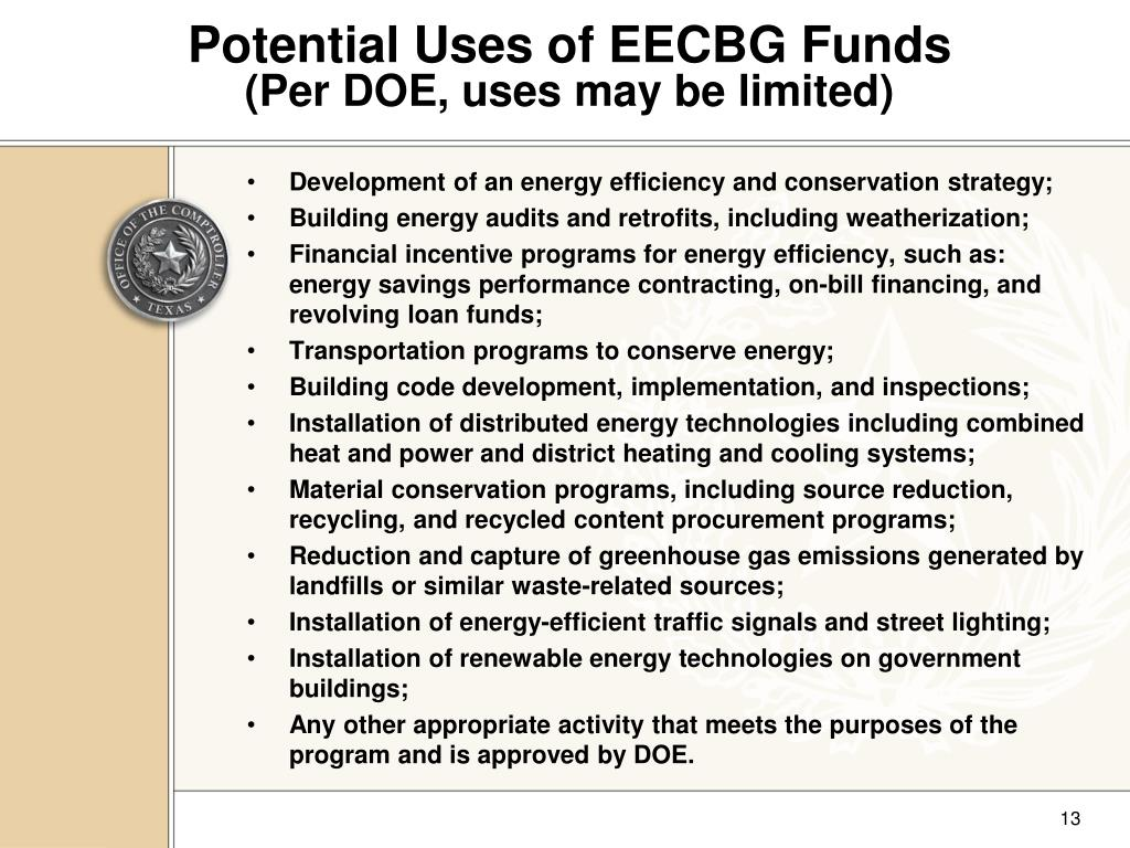 Potential Uses of EECBG Funds