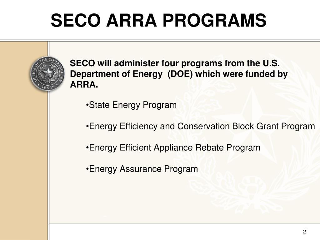 SECO ARRA PROGRAMS