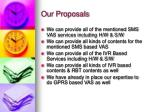 our proposals