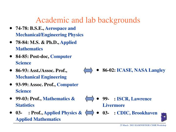 Academic and lab backgrounds