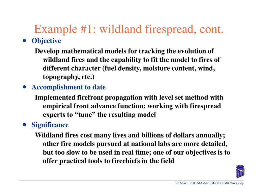 Example #1: wildland firespread, cont.