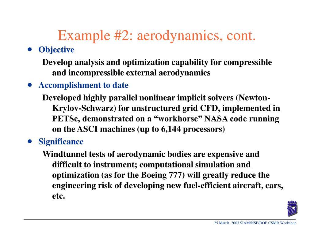 Example #2: aerodynamics, cont.