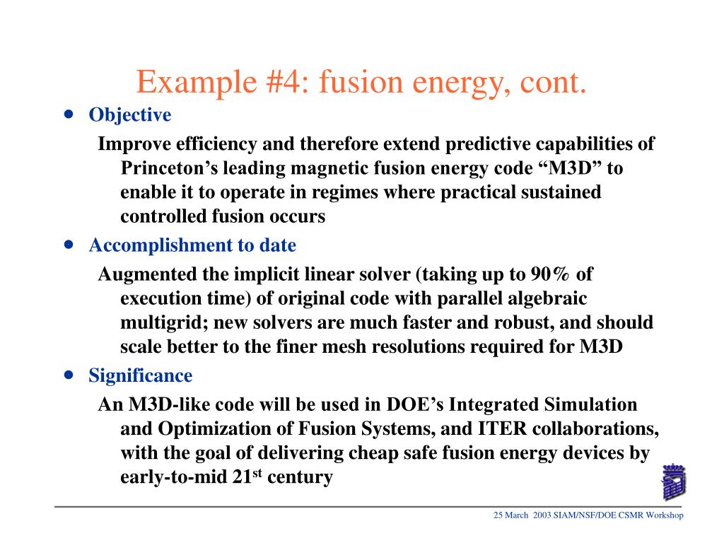 Example #4: fusion energy, cont.