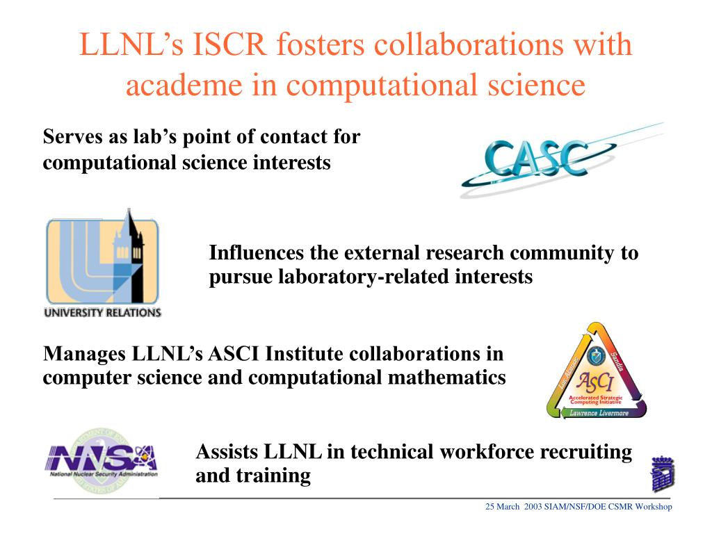 Serves as lab's point of contact for computational science interests