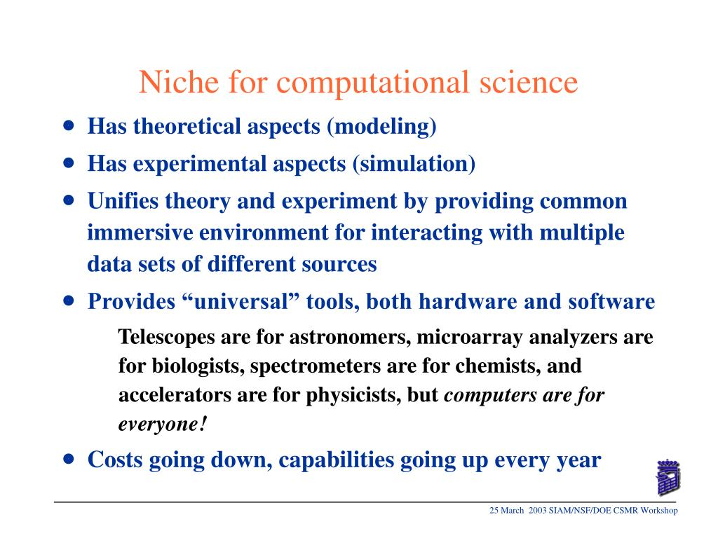 Niche for computational science