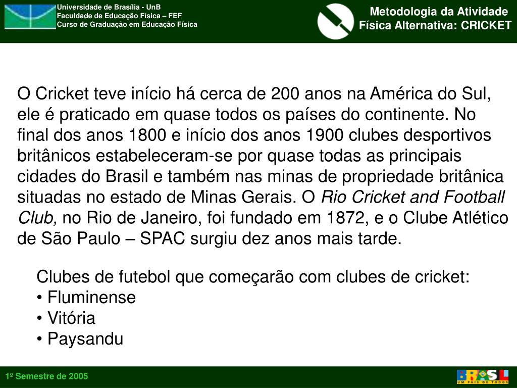 O Cricket teve início há cerca de 200 anos na América do Sul,