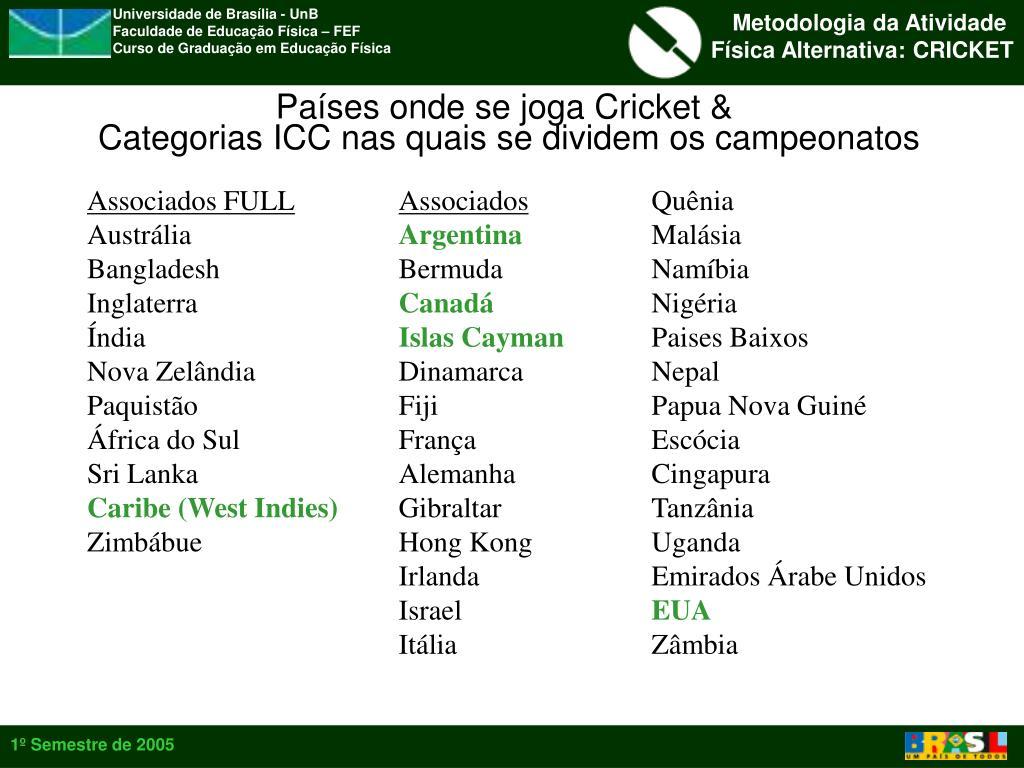 Países onde se joga Cricket &