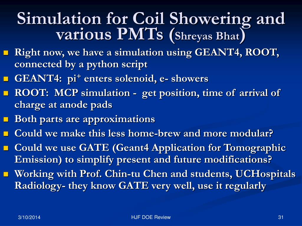 Simulation for Coil Showering and various PMTs (