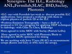 synergies the ilc radiology anl fermilab slac bsd saclay photonis
