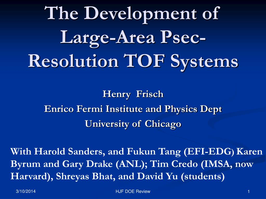 the development of large area psec resolution tof systems l.