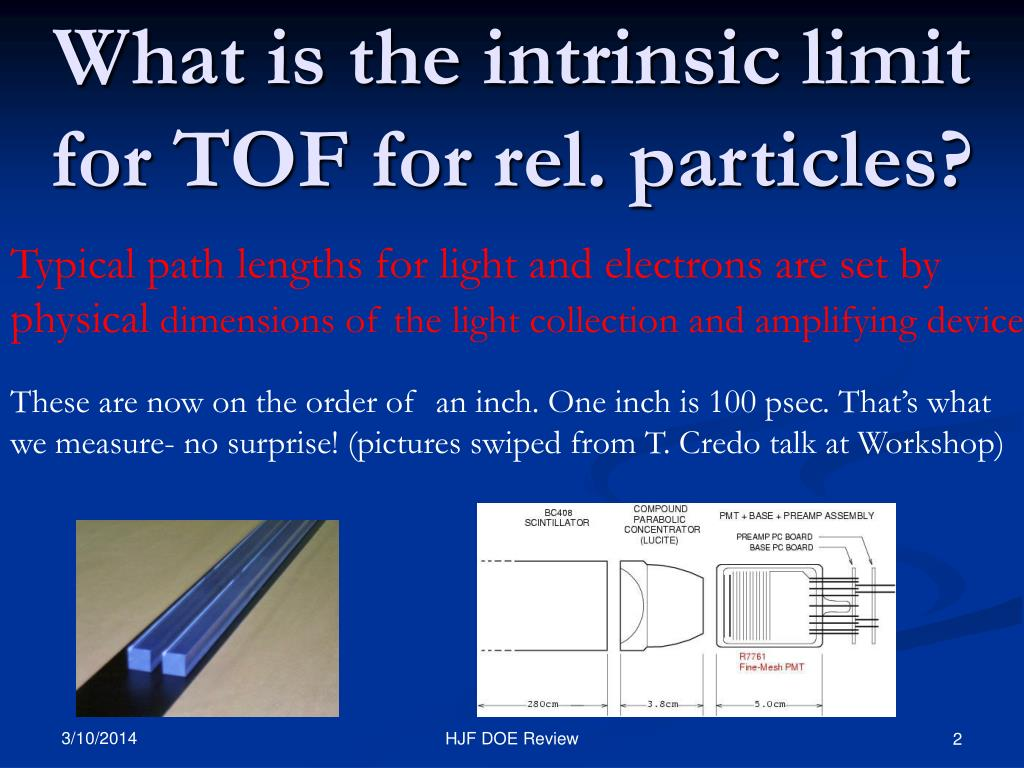 What is the intrinsic limit for TOF for rel. particles?